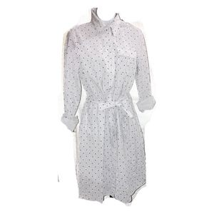Brooks Brothers shirtdress white with polka dots